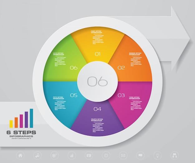 インフォグラフィックの矢印と円グラフのデザイン要素。