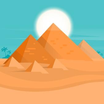 砂漠の景色エジプトピラミッドの夕暮れ