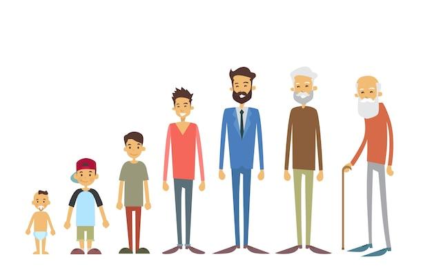 若い幼児から高齢者までの男性の世代