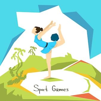 芸術的な体操ガールアスリートスポーツコンクール
