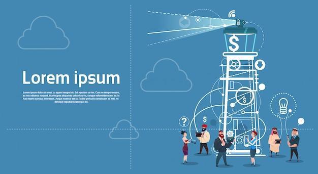 ビジネスピープルグループタワー検索戦略成功スタートアップコンセプト