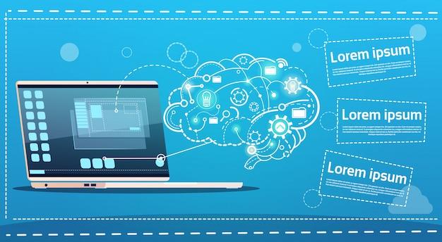 ラップトップコンピューターブレインストーミングブリーフィングのアイデアクリエイティブコンセプトビジネスバナー