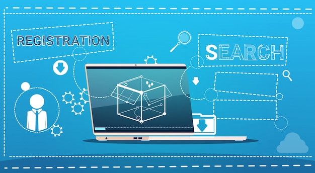 ラップトップコンピューターのデータ検索登録の概念
