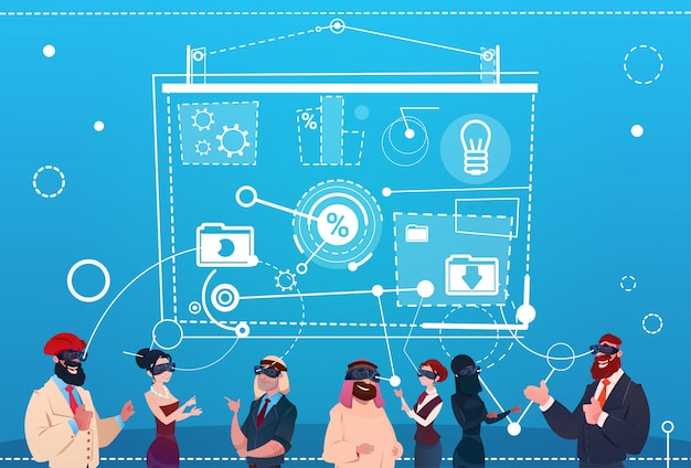 ビジネスピープルグループ着用バーチャルリアリティメガネデジタルインターフェーススクリーンプレゼンテーションセミナー