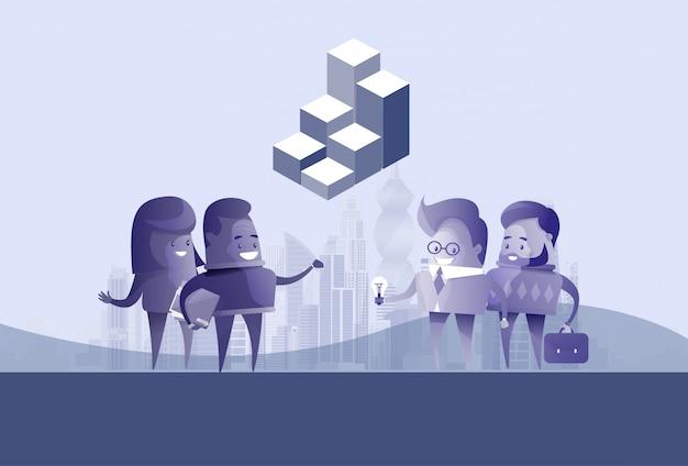 ビジネス人々のグループシルエット会議話すアイデアディスカッションコミュニケーションコンセプト