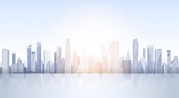コピースペースを持つ街の超高層ビルビュー都市の景観背景スカイラインシルエット