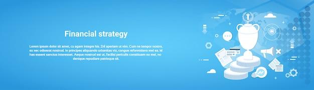 Финансовая стратегия бизнес шаблон горизонтальный веб-баннер