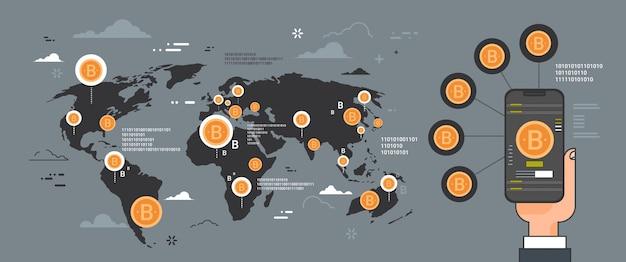 Концепция сети криптовалюты, рука смартфон на золотые биткойны на карте мира