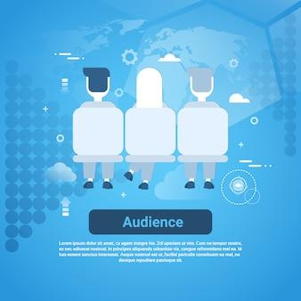 Аудитория бизнес концепции веб-баннер с копией пространства
