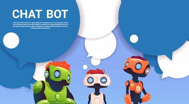 ウェブサイトやモバイルアプリケーション、人工知能の概念のチャットボットロボット仮想支援