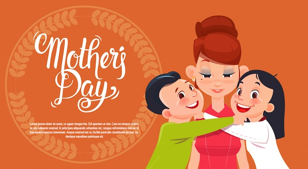 幸せな母の日、息子と娘のお母さん、春休みグリーティングカードバナー
