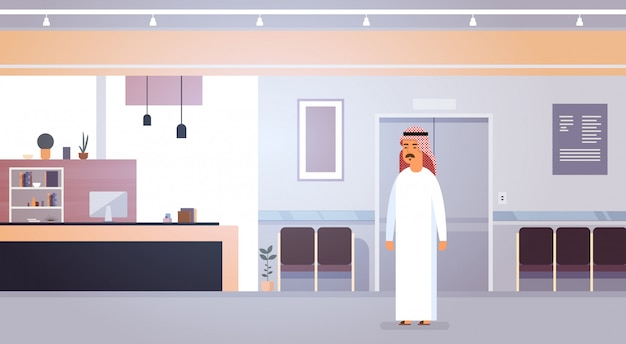 近代的なオフィスにアラブのビジネスマン起業家