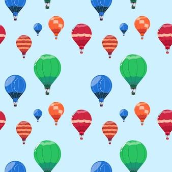 カラフルな気球バスケット飛んでシームレスパターン
