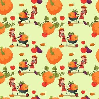シームレスパターンを栽培農家のかぼちゃ新鮮な野菜