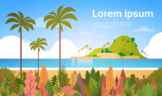 Тропический пляж остров пальмы океан летние каникулы концепция