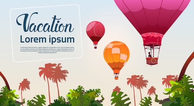 人々は熱帯林の風景の上を飛んで気球旅行夏の休暇の概念