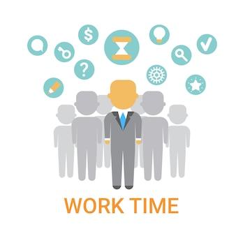Иконка рабочего времени рабочий процесс организация концепция баннер