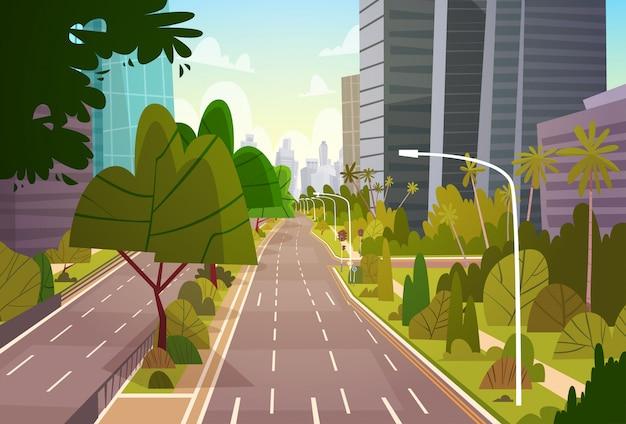 市の通りの高層ビル建物モダンな街並み空ダウンタウン