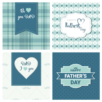 幸せな父の日ファミリーホリデー、レトロなグリーティングカードコレクション