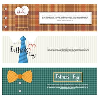 幸せな父の日ファミリーホリデー、コピースペースセットとレトロなグリーティングカード