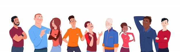 白い背景上に分離されてさまざまな年齢の人々ミックスレース漫画のグループ水平方向のバナー