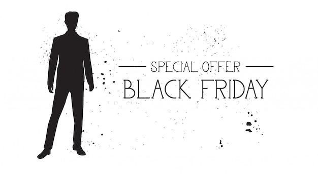 白グランジゴムファッションモデル男性シルエットとブラックフライデー特別オファーバナー