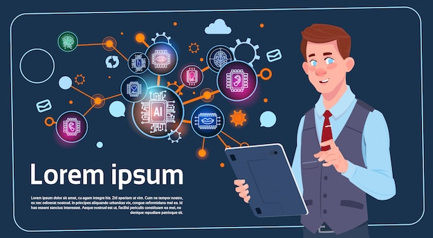 Бизнесмен, проведение презентации стенд на цифровой экран с диаграммами и графиком инфографика бизнеса