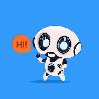 かわいいロボットと言うこんにちは青い背景に分離アイコン現代の技術人工知能の概念