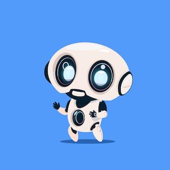 青色の背景に分離された現代のロボットかわいい漫画のキャラクターの人工知能の概念