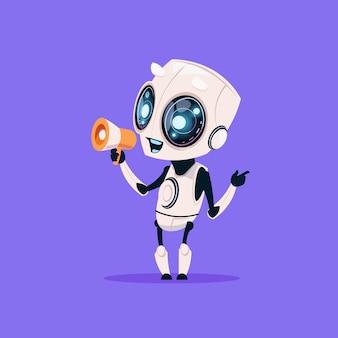 Симпатичный робот держит мегафон изолированные значок на синем фоне современные технологии искусственного интеллекта