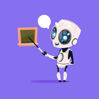 Симпатичный робот учитель удерживайте указатель возле школьной доски, изолированных значок на синем фоне современных технологий
