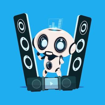 青色の背景にオーディオスピーカーの上に立って現代のロボットかわいい漫画のキャラクターの人工知能