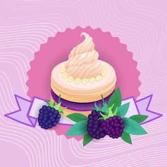 カラフルなケーキの甘い美しいデザートのおいしい食べ物