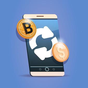 Значок обмена биткойнов на сотовый смартфон цифровая криптовалюта современный веб-деньги