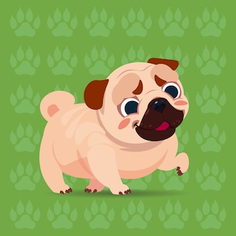 Мопс собака счастливый мультфильм, сидя на фоне следов милый питомец