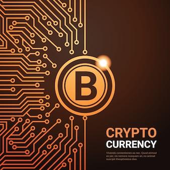 Криптовалюта золотой биткойн цифровая паутина концепция денег фон схема