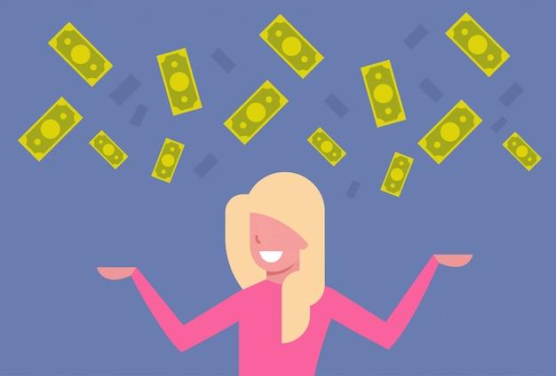 幸せなビジネス女性のお金を投げて豊富な実業家金融成功の概念