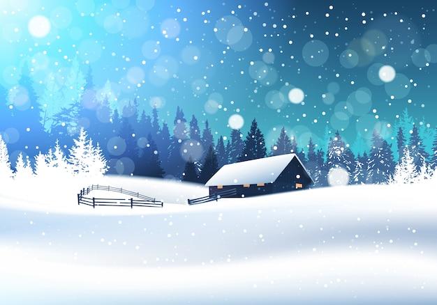 Красивый зимний пейзаж с домом в снежном лесу