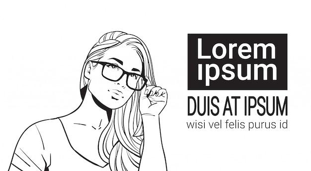 眼鏡をかけている美しい女性の肖像画をスケッチします。長い髪の魅力的な女性
