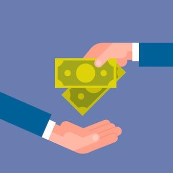 Бизнес рука дает деньги на зарплату бизнесмена