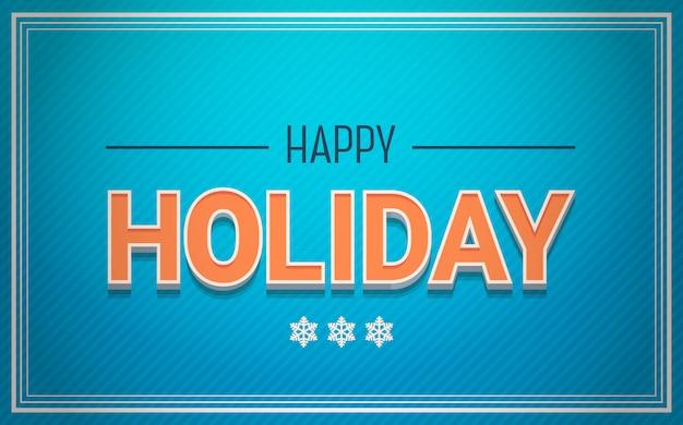 青色の背景にハッピーホリデーカードのテキストクリスマスと新年のコンセプト