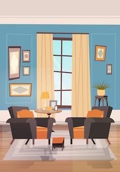 モダンな家具、小さなテーブルと窓の近くのアームチェア付きの居心地の良いリビングルームのインテリアデザイン