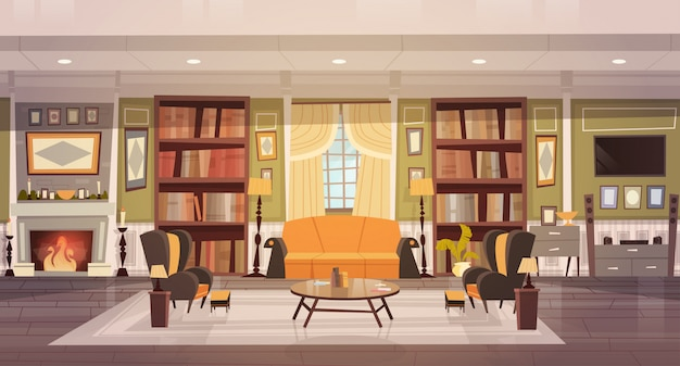 居心地の良いリビングルームのインテリアデザイン、家具、ソファ、テーブルアームチェア、暖炉本棚