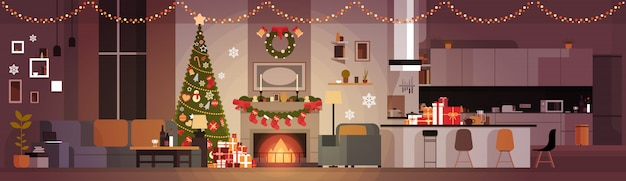 クリスマスと新年の水平方向のバナー松の木のために飾られたリビングルーム