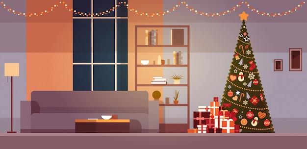 冬の休日の装飾付きのモダンなリビングルームクリスマスツリーと花輪ホームインテリア