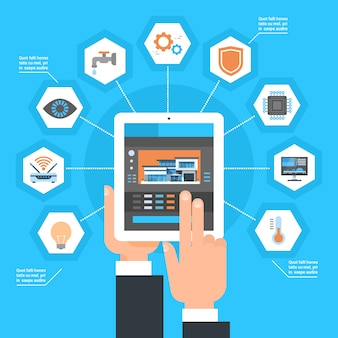 Ручное использование системы управления умным домом на планшетном компьютере концепция автоматизации мониторинга дома