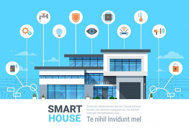 スマートホームコンセプトインフォグラフィック集中管理アイコンバナー付きモダンハウステクノロジーシステム
