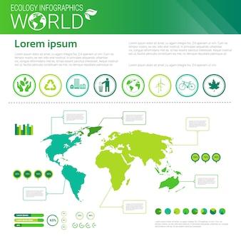 Всемирная охрана окружающей среды зеленая энергия экология инфографика баннер с копией пространства