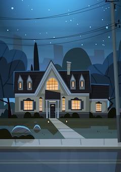 Дом строительство ночной вид пригород большого города