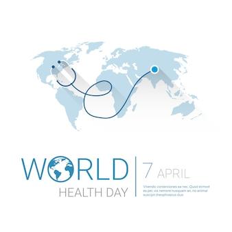 コピースペースを持つ地球惑星聴診器健康世界デーグローバルホリデーバナー